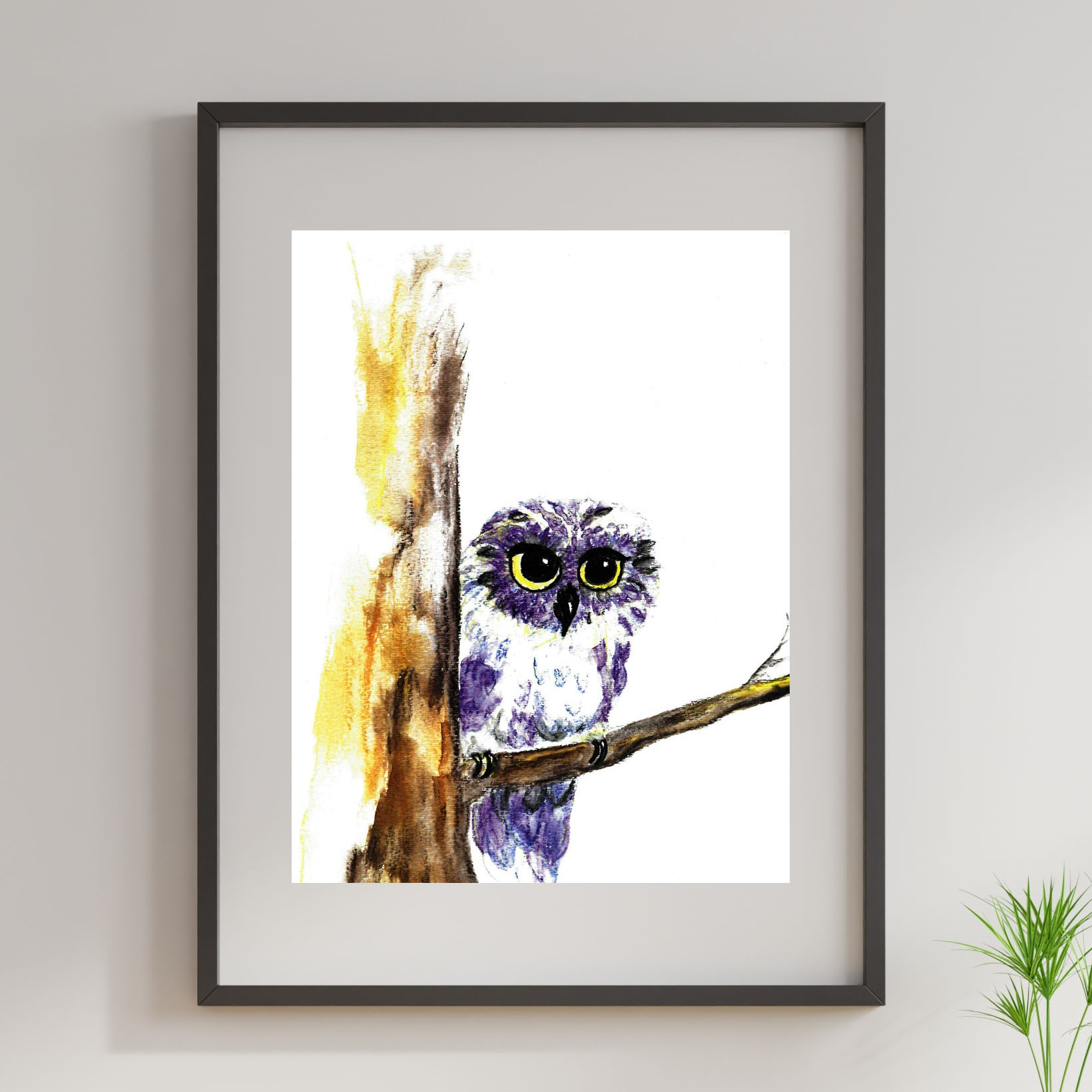 A lavender and blue colored owl with bright yellow eyes perches on a branch.