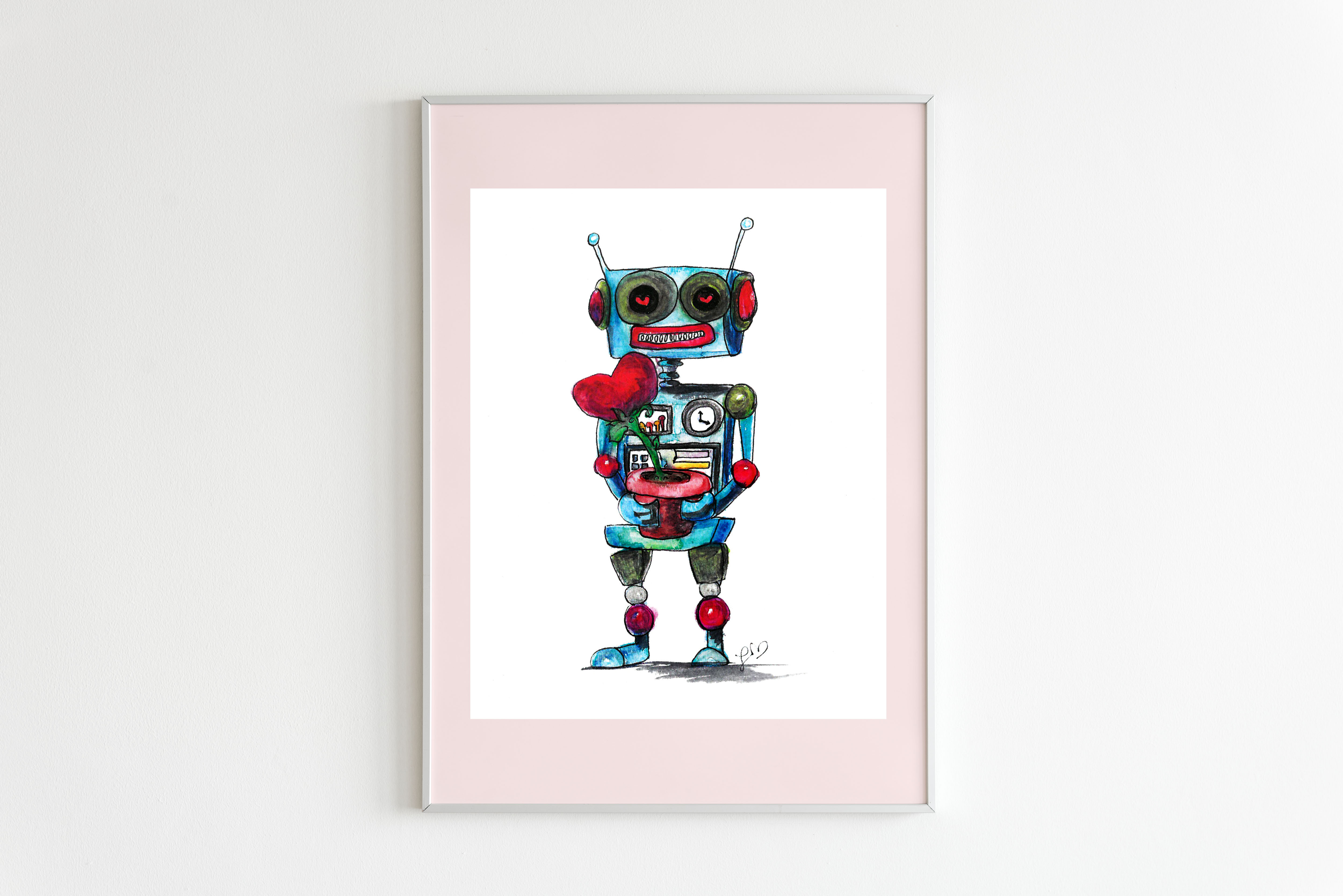 A blue robot with heart eyes holds a potted plant with a pink heart shaped flower inside.