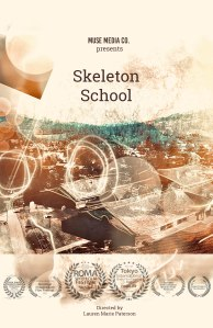 """A movie poster with an aerial view of a school shows the title """"Skeleton School."""""""